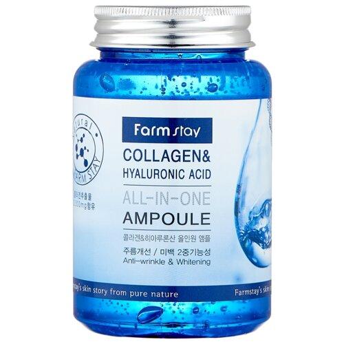 Farmstay All-In-One Collagen & Hyaluronic Acid Ampoule Сыворотка для лица с гиалуроновой кислотой и коллагеном, 250 мл крем для ухода за кожей femegyl оживляющий с гиалуроновой кислотой 250 мл