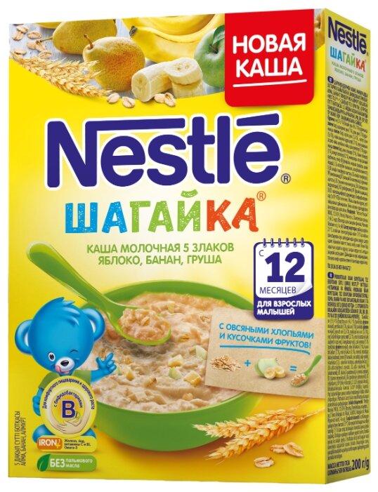 Каша Nestlé молочная Шагайка 5 злаков с кусочками яблока, банана и грушей (с 12 месяцев) 200 г