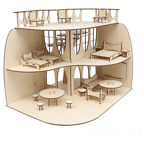 Купить Astra & Craft Дом с мебелью L-1127, бежевый/коричневый, Кукольные домики