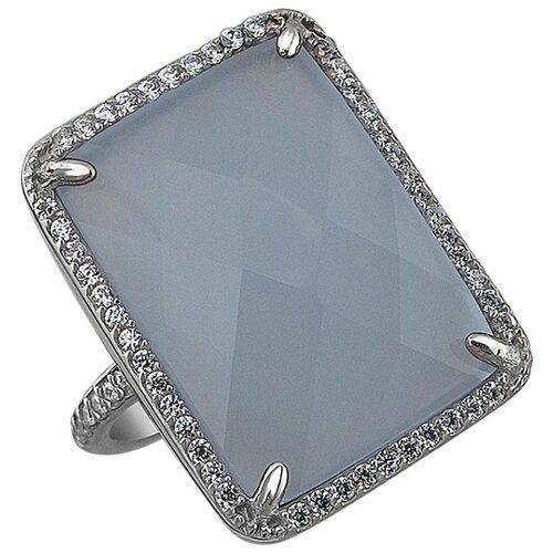 Эстет Кольцо с агатами и фианитами из серебра 01К4511065-1, размер 17.5 ЭСТЕТ