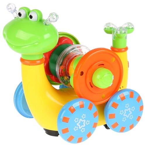 Интерактивная развивающая игрушка Умка Гусеница-пирамидка желто-зелено-синий