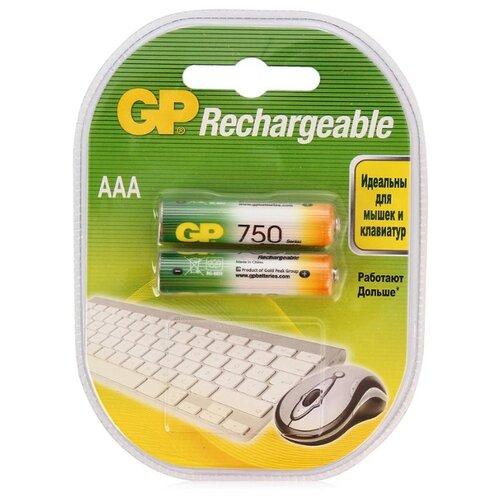 Фото - Аккумулятор Ni-Mh 750 мА·ч GP Rechargeable 750 Series AAA 2 шт блистер аккумулятор ni mh 1000 ма·ч gp rechargeable 1000 series aaa usb светильник 4 шт блистер