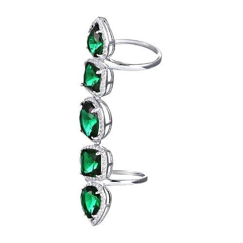 ELEMENT47 Кольцо фаланговое из серебра 925 пробы с кубическим цирконием R5126_003_WG, размер 14