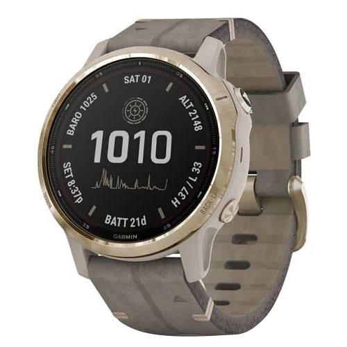 Умные часы Garmin Fenix 6S Pro Solar с замшевым ремешком, золотистый/серый умные часы garmin fenix 6x pro solar титановый с титановым браслетом серый