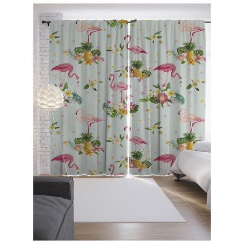 Портьеры JoyArty Фламинго в цветах на ленте 265 см (p-9442)