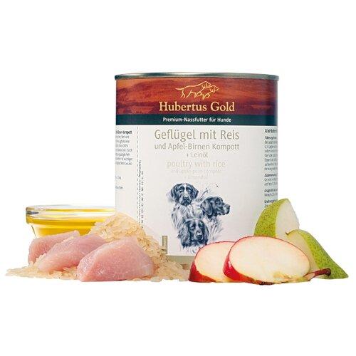 Влажный корм для собак Hubertus Gold птица с рисом, с яблоком, с грушей 800г