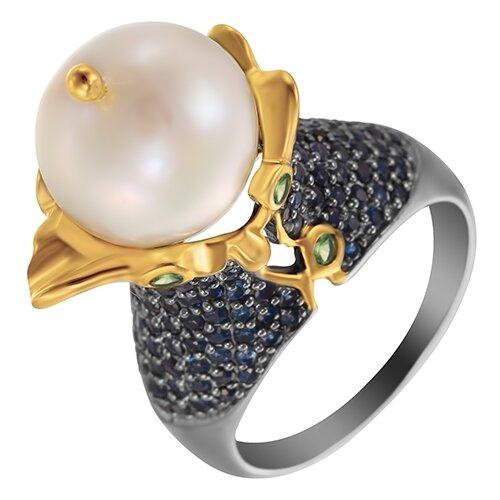 ELEMENT47 Кольцо из серебра 925 пробы с культивированным жемчугом, сапфирами и цаворитами R1322PR_KO_SA_TV_WP_001_BJ, размер 17.5