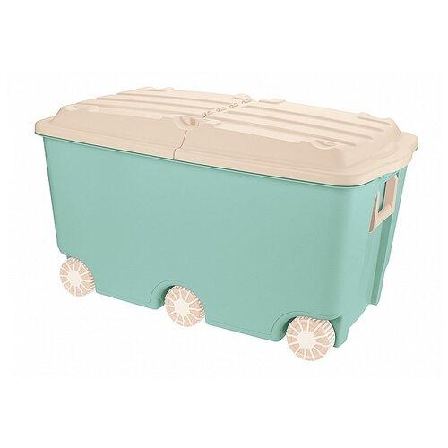 Купить Ящик для игрушек на колесах, 66, 5л, 685х395х385 мм (зеленый), Бытпласт, Хранение игрушек