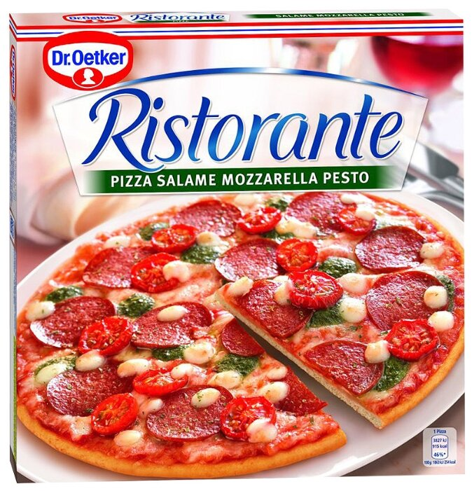 Dr. Oetker Замороженная пицца Ristorante салями, моцарелла, песто 380 г