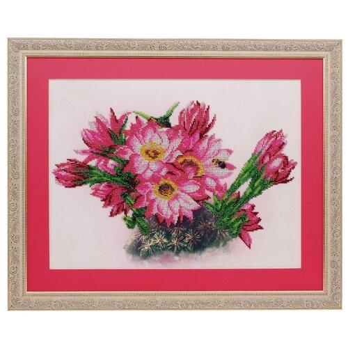 Фото - Ажур Набор для вышивания бисером Цветущий кактус 40 х 30 см (Б-0002) ажур набор для вышивания крестиком цветущий кактус 26 х 17 см 0010