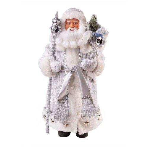 Фигурка Феникс Present Дед мороз с посохом и елочкой 41 см серебристый