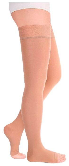 Чулки Idealista 2 класс с открытым носком на широкое бедро ID-310W размер XXL, длина 72-83 см, бежевый