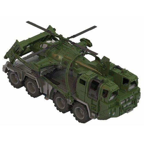 Набор техники Нордпласт Военный тягач Щит с вертолетом (256) 56 см