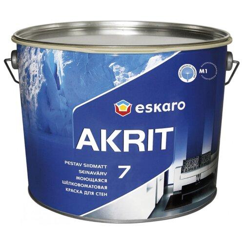 Краска акриловая Eskaro Akrit 7 влагостойкая полуматовая белый 2.85 л