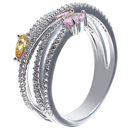 ELEMENT47 Кольцо из серебра 925 пробы с кубическим цирконием DM2168R_KO_001_WG, размер 18