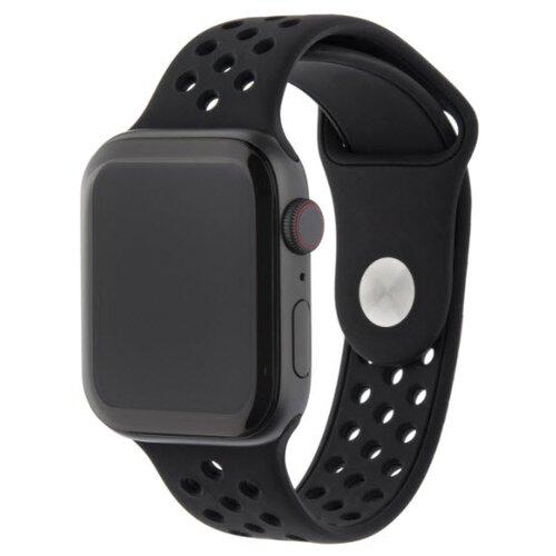 INTERSTEP Ремешок ACTION для Apple Watch 42/44 мм, силикон обсидиан/черный