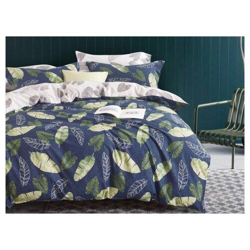 Постельное белье 2-спальное с евро простыней Your dream Листва сатин синий/желтый/зеленыйКомплекты<br>