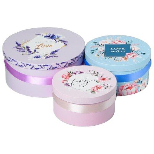 Фото - Набор подарочных коробок Дарите счастье Нежность, 3 шт. голубой/розовый/сиреневый набор подарочных коробок дарите счастье нежность 3 шт розовый