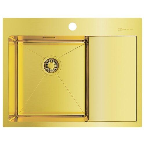 Фото - Врезная кухонная мойка 65 см OMOIKIRI Akisame 65-LG-L светлое золото врезная кухонная мойка 65 см omoikiri akisame 65 in r нержавеющая сталь