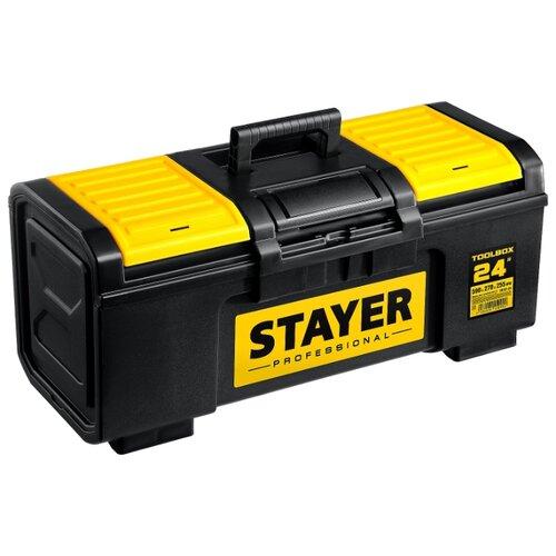 Ящик с органайзером STAYER Professional 38167-24 59x27x25.5 см 24'' черный/желтый ящик с органайзером stanley jumbo 1 92 908 31 4x56 2x30 см желтый черный