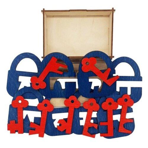 Фото - Сортер TAU TOY Головоломка Замочки и ключики 4 6201252 деревянные игрушки tau toy головоломка никитина собери квадрат 7 28х28 см