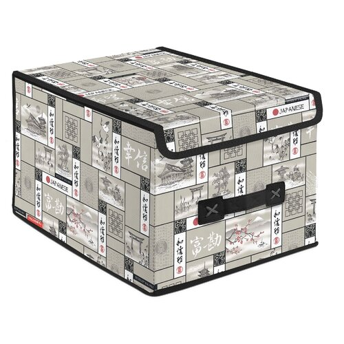 Valiant Короб стеллажный с крышкой большой 30х25х40 см светло-серыйКорзины, коробки и контейнеры<br>