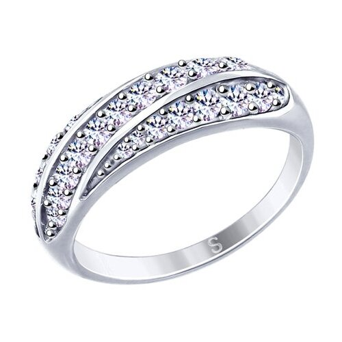 SOKOLOV Кольцо из серебра с фианитами 94012648, размер 18 фото