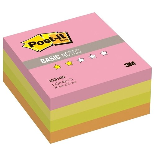 Купить Post-it Блок-кубик Basic, 76х76 мм, 400 листов (2028-BN) розовый/желтый/зеленый/оранжевый, Бумага для заметок