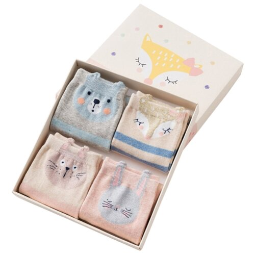Носки Caramella Лисичка, 4 пары, размер 22-25, розовый/голубой/серый