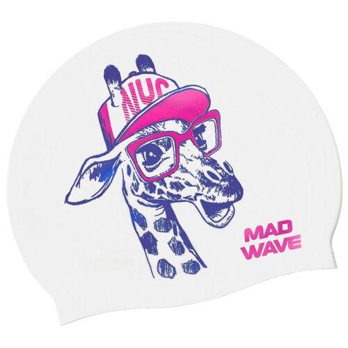 Юниорская силиконовая шапочка MAD WAVE, Giraffe, White, M0570 09 0 02W очки для плавания mad wave spurt rainbow azure white