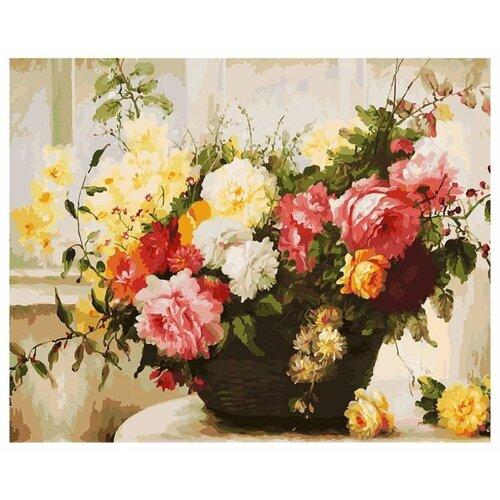 Купить Белоснежка Картина по номерам Букет в корзине 40х50 см (168-AB), Картины по номерам и контурам