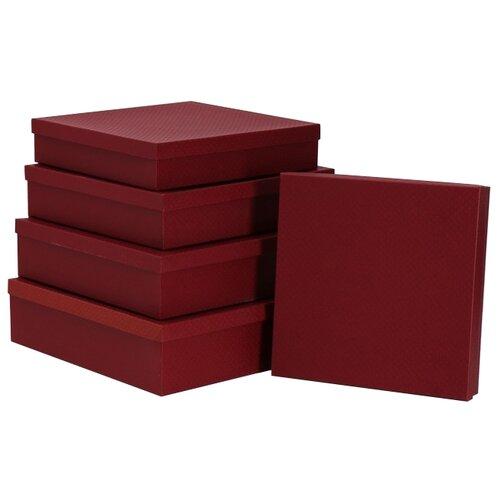 Набор подарочных коробок Мишель Фокс Сетка №14, 5 шт. бордовый