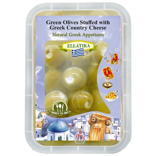 ELLATIKA Оливки фаршированные сыром в масле, пластиковый пакет 230 г