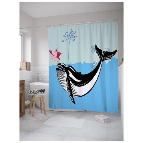 Штора для ванной JoyArty Птица и кит 180х200 (sc-8555) разноцветный