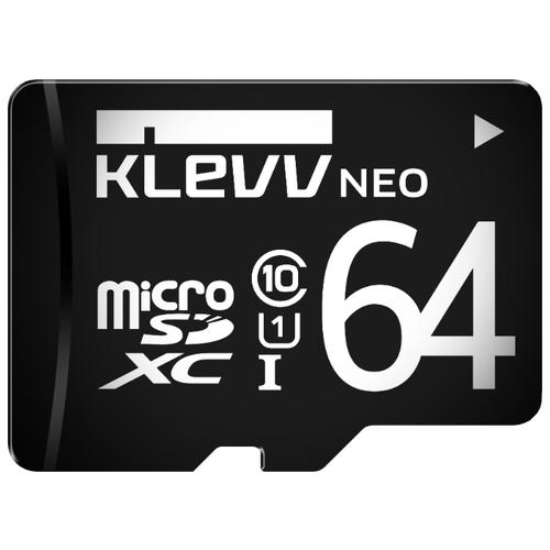 Карта памяти KLEVV microSDXC Class 10 UHS-I U1 64GB + SD adapter