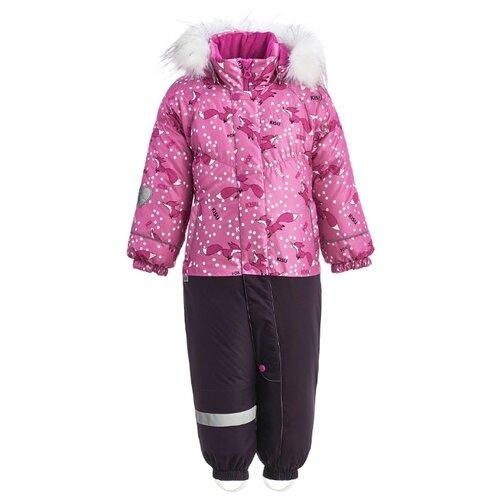 Комбинезон KISU W18-20601 размер 86, 06022 розовый/фуксия/темно-фиолетовый брюки утепленные kisu kisu mp002xc006zn