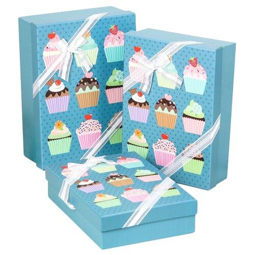 Набор подарочных коробок Yiwu Youda Import and Export Десерт, 3 шт голубой
