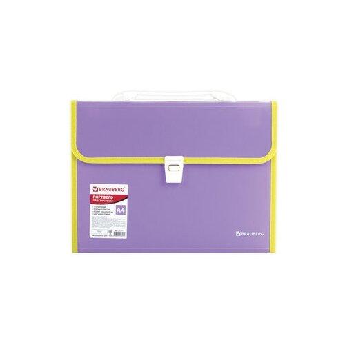 Купить BRAUBERG Портфель пластиковый Joy А4, 13 отделений фиолетовый, Файлы и папки