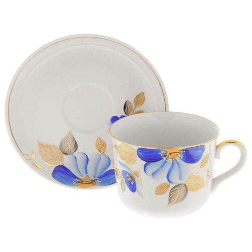 Дулёвский фарфор Чашка чайная с блюдцем Ностальгия Синий цветок 450 мл