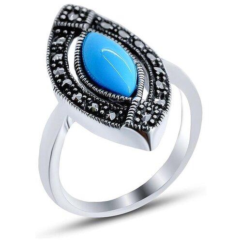 Silver WINGS Кольцо с марказитами и бирюзой из серебра 210011-39-203, размер 17 silver wings кольцо с марказитами и бирюзой из серебра 210011 39 203 размер 17