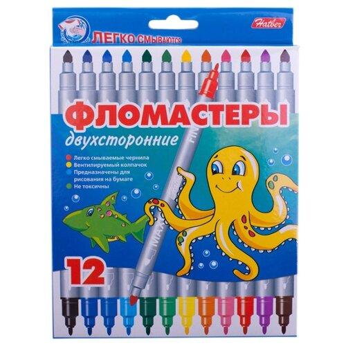 Купить Hatber Набор фломастеров Морская семейка (Fd12_21), 12 шт. разноцветные, Фломастеры