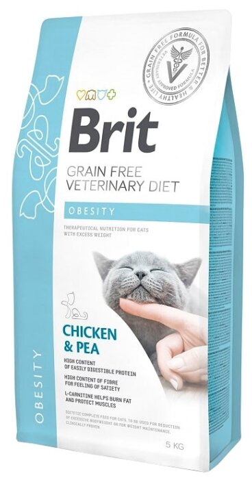 Корм для кошек Brit Veterinary Diet беззерновой, при избыточном весе, с курицей и с горошком