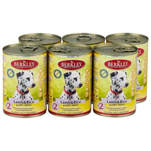 Фото - Влажный корм для собак Berkley (0.4 кг) 6 шт. Паштет для щенков. Новозеландский ягненок с рисом 6шт. х 400г (для средних пород) влажный корм для собак berkley 0 4 кг 6 шт паштет для собак оленина с коричневым рисом 6шт х 400г