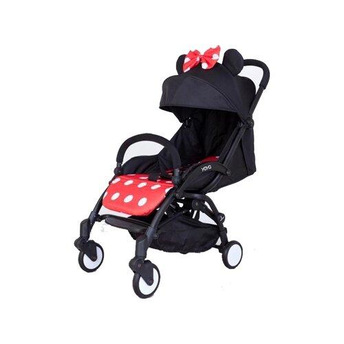 Купить Прогулочная коляска Yoya Premium (дожд., москит., подстак., бампер, сумка-чехол, бамбук. коврик, корзина д/пок, ремешок на руку, накидка на ножки) Минни, цвет шасси: черный, Коляски