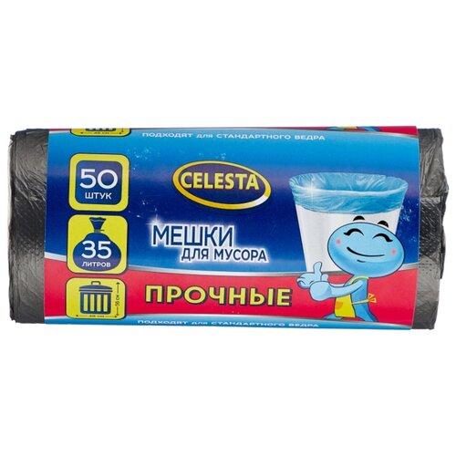 Мешки для мусора Celesta 35 л (50 шт.) черный мешки для мусора лайма комплект 5 упаковок по 30 шт 150 мешков 30 л черные в рулоне 30 шт пнд 8 мкм 50х60 см ±5