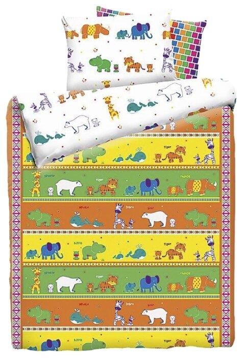 Постельное белье 1.5-спальное Mona Liza Kids Зоопарк, бязь оранжевый/белый/желтый