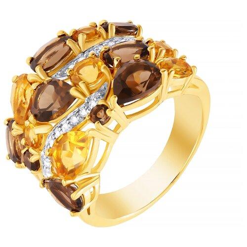 ELEMENT47 Широкое ювелирное кольцо из серебра 925 пробы с цитринами и раухтопазами R-05287-00-S01_KO_CT_SQ_YG, размер 17.5- преимущества, отзывы, как заказать товар за 10868 руб. Бренд ELEMENT47
