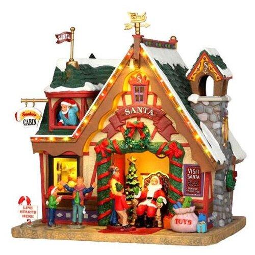 фигурка lemax платформа с рождественскими игрушками 10 4 x 18 x 10 см красный зеленый Фигурка LEMAX Приемная Санты 15.5 x 20.7 x 19.2 см серый/зеленый/бежевый
