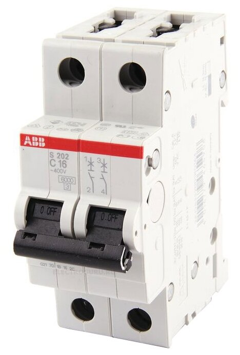 Автоматический выключатель ABB S202 2P (C) 6кА
