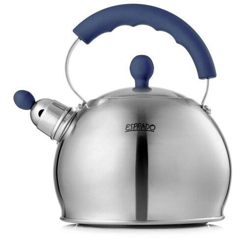 Esprado Чайник со свистком Leon 2,5 л темно-синий/серебристый esprado чайник onix 2 2 л черный серебристый